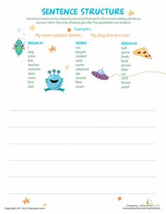 With this worksheet, your student can rearrange these nouns and verbs into complete sentences, building creative writing skills.