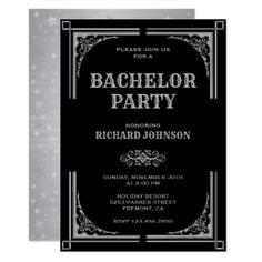 Purim party invitations elegant invitations pinterest elegant black silver art deco bachelor party invitation party gifts gift ideas diy customize stopboris Gallery