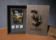 Personalized whiskey glass and 3 whiskey stones in personalized wood box. bear gifts for men Be My Groomsman, Groomsman Gifts, Whiskey Gift Set, Leather Coasters, Bear Decor, Personalized Coasters, Card Box Wedding, Glass Boxes, Light Oak