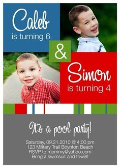 Double Birthday Party Invitation With By Momentsintimewallart