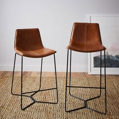 bar stools Slope Leather Bar + Counter Stools -- nice alternative to the McGuire swivel leather stool at half the price Leather Counter Stools, Leather Stool, Kitchen Counter Stools, Bar Counter, Brown Leather Bar Stools, Modern Counter Stools, Saddle Leather, Kitchen Counters, Leather Chairs