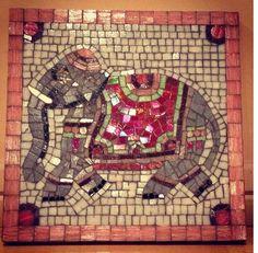 Handmade mosaic elephant wall art by Iammosaic.
