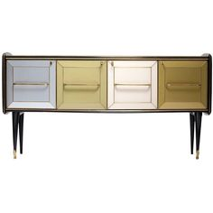 1960s Mid Century Italian Glass Sideboard/Credenza ❤ liked on Polyvore featuring home, furniture, storage & shelves, sideboards, green olive buffet, glass credenza, lacquer furniture, olive green furniture and colored furniture