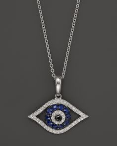 """Diamond and Sapphire Evil Eye Pendant Necklace in 14K White Gold, 18""""   Bloomingdale's"""