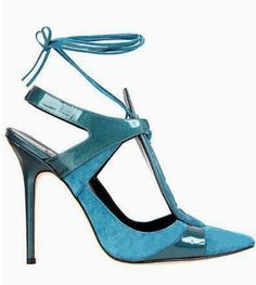 blue patent and blue suede heels
