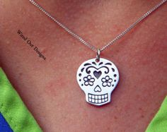 Sterling Silver Mexican Sugar Skull Necklace - Day of the Dead, Bones, Skulls, Skeleton, Family