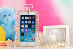 IPhone 6/6 Plus 2014 Neue Beliebte Chanel Parfüm Flasche Design Handyhülle mit Goldener Kette