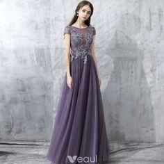 Chic / Beautiful Grape Evening Dresses  2017 A-Line / Princess Floor-Length / Long Scoop Neck Short Sleeve Backless Appliques Flower Rhinestone Beading Pierced Formal Dresses