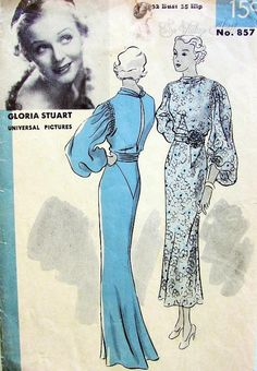 Gorgeous Bias Cut Evening Gown or Dress Pattern Shirred Details, Draped Neckline, Draped Girdle, Very Full Sleeves, Figure Flattering Frock Featuring Gloria Stuart Hollywood Patterns 857 Vintage Sewing Pattern Bust 32 Evening Dress Patterns, Wedding Dress Patterns, Dress Making Patterns, Vintage Dress Patterns, Clothing Patterns, Vintage Dresses, Vintage Style Outfits, Vintage Fashion, 30s Fashion