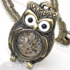 Steampunk - Time Flys MR OWL Pendant- Jeweled Watch Movement - Gears   GlazedBlackCherry - Jewelry on ArtFire