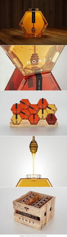 coolest packaging i've seen for honey. it looks like an art installment or interactive piece even.the coolest packaging i've seen for honey. it looks like an art installment or interactive piece even. Clever Packaging, Honey Packaging, Bottle Packaging, Pretty Packaging, Brand Packaging, Product Packaging Design, Graphisches Design, Creative Design, Graphic Design