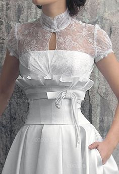 Wedding Dress from Mikado and Unique Corse Chic and Elegant Aristocratic Gown with Pockets - Vesta by CoconBridalThis elegant and chic Wedding dress made from Mikado. Vesta gown is offered with a rich Chantilly lace bolero with short Consid Unique Wedding Gowns, Chic Wedding Dresses, Designer Wedding Gowns, Colored Wedding Dresses, Boho Wedding Dress, Elegant Dresses, Boho Dress, Vintage Dresses, Beautiful Dresses