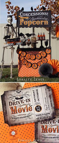 Loralee Lewis Halloween Movie Night-- THIS is awesome! Halloween Movie Night, Casa Halloween, Halloween Circus, Movie Night Party, Halloween Birthday, Holidays Halloween, Happy Halloween, Halloween Crafts, Halloween Juegos