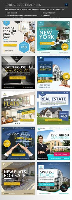 A sharp, creative and professional bundle of Instagram Real Estate Banner templates for any kind of Real Estate business or Real Estate agent that will suit perfect for your company or personal Instagram profile.  Sell your property quick and easy with this set of 10 Real Estate Instagram banners, also suitable for Facebook or any Social network. Just use these banner for your Real Estate marketing campaign or your Real Estate adwords campaign.