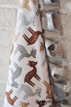 Deer in Nature Minky Baby Blanket with Satin Trim (Straight or Ruffled)..YOU CHOOSE size and colors.....Personalization Available by MyWoobyandMe on Etsy