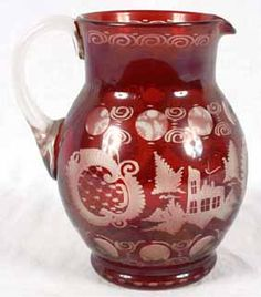 """Image detail for -Bohemian Red Cut Glass Pitcher. 7 3/4"""". Stag & Castle Design. Good ..."""