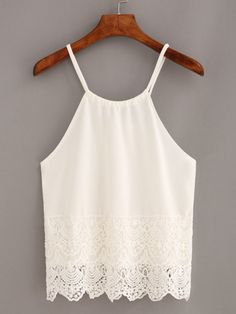 Lace Trimmed Keyhole Drawstring Neck Cami Top - White