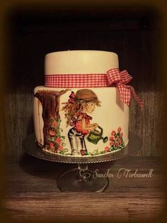 Sarah Kay, Pretty Cakes, Beautiful Cakes, Hand Painted Cakes, Holly Hobbie, Girl Cakes, Love Cake, Desert Recipes, Cake Designs
