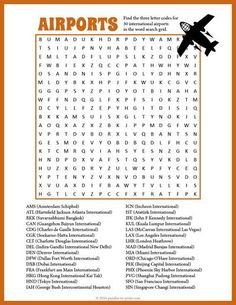 Here is a challenging word search puzzle featuring 36 airport codes to hunt down.  Another great free printable puzzle from Puzzles to Print.