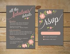 One sheet for accommodations, registry, and reception info? Romantic Floral Wedding Invitation Set // by MyCrayonsPapeterie
