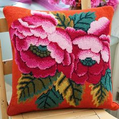 Pink Chinese Peonies by Kaffe Fassett from Ehrman Tapestry Needlepoint Designs, Needlepoint Stitches, Needlepoint Kits, Needlework, Funny Needlepoint, Bargello Needlepoint, Needlepoint Stockings, Cross Stitch Pillow, Cross Stitch Embroidery