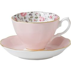 ROYAL ALBERT Rose Confetti Vintage teacup and saucer ($27) ❤ liked on Polyvore featuring home, kitchen & dining, drinkware, vintage tea cups and saucers, floral tea cups, bone china, royal albert tea cups and vintage tea cups