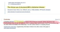 """The clinical use of structural MRI in Alzheimer's Disease.  February 2010.  """"Competing interests: N. C. Fox declares associations with the following companies: Abbott Laboratories, Elan Pharmaceuticals, Eisai, Eli Lilly, GE Healthcare, IXICO, Lundbeck, Pfizer, Sanofi-Aventis, Wyeth Pharmaceuticals"""" Eli Lilly, Ge Healthcare, Alzheimers, Dementia, Clinic, Health Care, February, Fox, Author"""