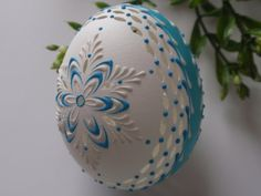 Easter Egg in White and Blue, Wax Embossed and Drilled Pysanky, Madeira Kraslice