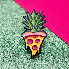 Pineapple Pizza Enamel Pin by PowerUpPins on Etsy