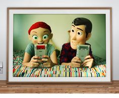 """Hello I'm Wild"" Headshot Series print. Jessie and Woody playing video games. I love this. #disney #pixar #toystory"