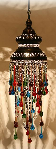 Moroccan-style lamp with glass drops