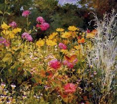 Wildflowers and Butterfly - Karl Anderson (American painter, 1874-1956)