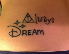My Harry Potter and Disney tattoo <3 - LOVE the HP font/tat. There is the…