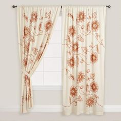 One of my favorite discoveries at WorldMarket.com: Embroidered Floral Cotton Curtain