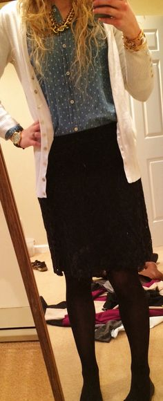 Teacher outfit. Polka dot chambray shirt. White sweater. Black lace pencil skirt. Tights. Black flats.  Black chevron watch. Alex and Ani. Gold chain necklace
