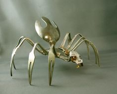 Recycled forks and spoons make a creepy spider