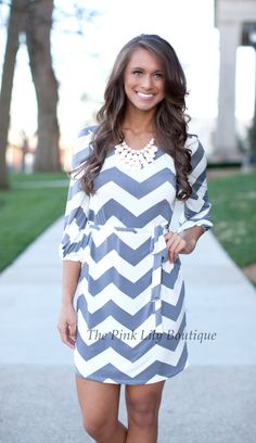 The Pink Lily Boutique - Grey Chevron 3/4 Sleeve Dress, $40.00 (http://thepinklilyboutique.com/grey-chevron-3-4-sleeve-dress/)