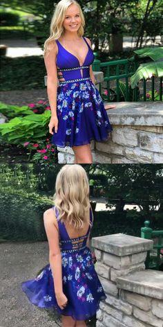 A-Line Dresses,Deep V-Neck Dresses,Backless Dresses,Royal Blue Floral Dresses,Homecoming Dresses