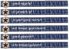 Deze beloningsarmbandjes dienen als versterker voor positief gedrag. Via de volgende link zijn er verschillende teksten en ook blanco bandjes te downloaden: http://leermiddel.digischool.nl/po/leermiddel/663cd4667f8b431c0562470c026acbba