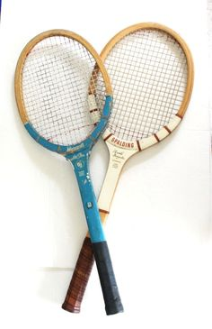 Vintage Wooden Tennis Rackets Racquets Pair Set by ThirdHandShoppe
