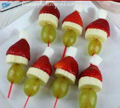 .Santa Hats on Fruit Kabobs