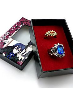 KuroShitsuji Ciel Phantomhive Black Butler Set rings Cosplay Accessories