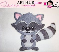 Racoon Embroidery Machine Pattern 4x4 by ARTHURjane on Etsy, $3.99