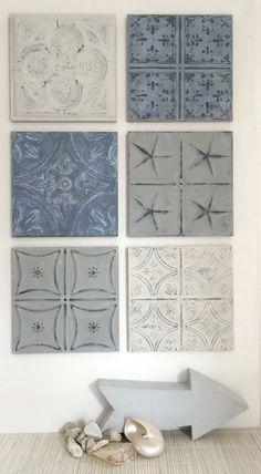 Nieuwe collectie wanddecoraties. Wandpaneel small (29x29 cm) is nu te koop via onze website. Tin Tiles, Tin Ceiling Tiles, Western Furniture, Bedroom Wall, Bedroom Ideas, Bunt, Sweet Home, Gallery Wall, Concept