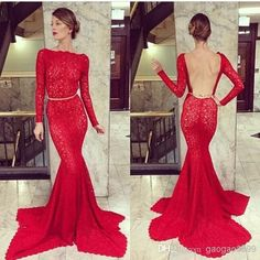 Wholesale Evening Dresses - Buy 2014 Fashion Hot Red Carpet Lace Backless Long Sleeve Formal Evening Dresses Mermaid Sexy Celebrity Party Prom Mother of Bride Gowns Arabic, $127.23 | DHgate