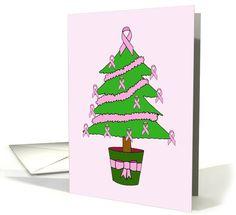 Pink Ribbon Christmas tree. card