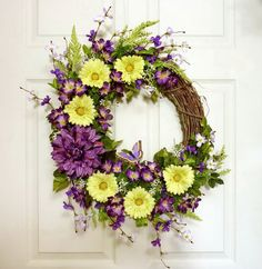 Spring Summer Wreath Yellow Daisy and Dahlia Front by Floralwoods, $60.00