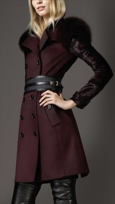 Burberry Purple MidLength Fur Detail Wool Cashmere Trench Coat