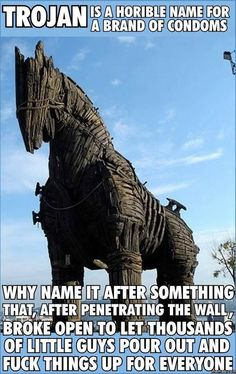 haha..wow people don't know the story of troy at all. For ten years the walls were impenetrable until they let the horse in.