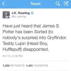J.K. Rowling's fantastic tweet on September 1, 2015.
